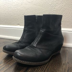 Dansko Black Leather Ankle Booties